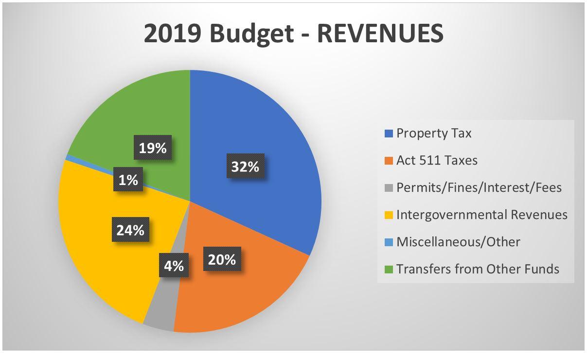 2019 Budget Revenues Pie Chart